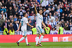 Achraf Hakimi of Real Madrid celebrates his goal during La Liga 2017-18 match between Real Madrid and Sevilla FC at Santiago Bernabeu Stadium on 09 December 2017 in Madrid, Spain. Photo by Diego Souto / Power Sport Images