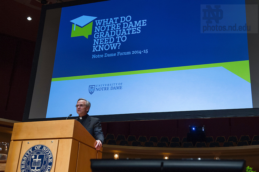 """Sept 15, 2014; Notre Dame University president Rev. John I. Jenkins, C.S.C., introduces the 2014-15 Forum theme and speaker Carl Wieman, Nobel Prize winner and professor of physics at Stanford University. Wieman presented, """"Taking a Scientific Approach to Science Education"""" at this year's inaugural event, """"What do Notre Dame Graduates Need to Know,"""" at Leighton Concert Hall in the Debartolo Performing Arts Center. (Photo by Barbara Johnston/University of Notre Dame)"""
