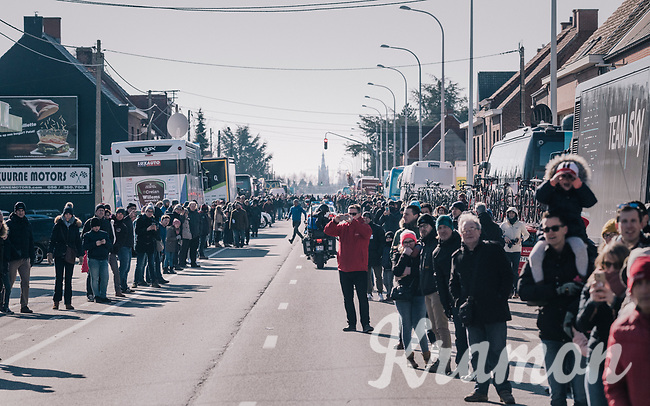 crowd waiting for the peloton to roll out of Kuurne<br /> <br /> 70th Kuurne-Brussel-Kuurne 2018<br /> Kuurne › Kuurne: 200km (BELGIUM)