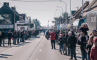 crowd waiting for the peloton to roll out of Kuurne<br /> <br /> 70th Kuurne-Brussel-Kuurne 2018<br /> Kuurne &rsaquo; Kuurne: 200km (BELGIUM)
