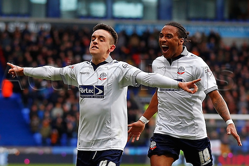 31.01.2015.  Bolton, England. Skybet Championship. Bolton versus Wolverhampton Wanderers. Bolton Wanderers forward Zach Clough celebrates scoring his second goal (2-1)
