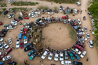 Aerial view of roundabout, rodeo area or jaripeo, during the Saturday evening of glory of Holy Week 2019 in Cuquiarachic.<br />