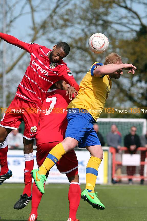 Abs Thompson of AFC Hornchurch and Fabion Simms of Harlow Town during Harlow Town vs AFC Hornchurch, Ryman League Divison 1 North Play-Off Final Football at The Harlow Arena on 1st May 2016