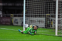 Fleetwood Town's goalkeeper Matthew  Gilks (13) saves Liverpools 3rd penalty during the The Leasing.com Trophy match between Fleetwood Town and Liverpool U21 at Highbury Stadium, Fleetwood, England on 25 September 2019. Photo by Stephen Buckley / PRiME Media Images.