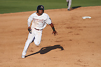 Wisconsin Timber Rattlers outfielder Brandon Diaz (5) sprints towards third base during a Midwest League game against the Quad Cities River Bandits on July 17th, 2015 at Fox Cities Stadium in Appleton, Wisconsin. Quad Cities defeated Wisconsin 4-2. (Brad Krause/Four Seam Images)