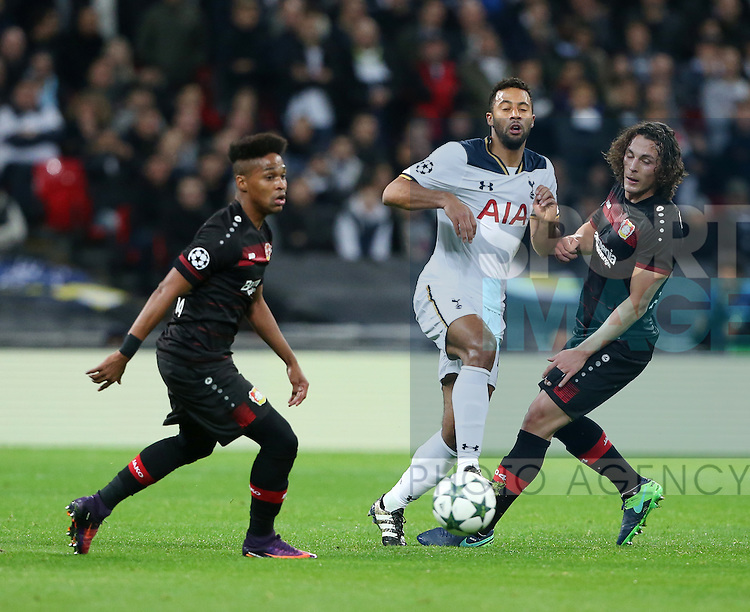 Tottenham's Mousa Dembele tussles with Leverksen's Julian Baumgartlinger during the Champions League group E match at the Wembley Stadium, London. Picture date November 2nd, 2016 Pic David Klein/Sportimage