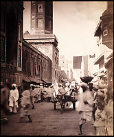 BNPS.co.uk (01202 558833)<br /> Pic: Bonhams/BNPS<br /> <br /> Lahore Bazaar.<br /> <br /> Plain tales from the Punjab - unseen archive of Indian photographs compiled by Rudyard Kiplings father revealed.<br /> <br /> A remarkable photo album compiled by John Lockwood Kipling documenting his time in Northern India in the late 19th century has emerged for sale for &pound;150,000.<br /> <br /> Lockwood, father of the celebrated writer Rudyard, lived in India between 1865 and 1893.<br /> <br /> An acclaimed artist in his own right, he took numerous eye-catching snaps of glorious monuments and bustling street scenes around Lahore, the Punjab and Amritsar.<br /> <br /> The photos date from around 1888, when he was working at the Mayo Art school in Lahore and as curator at the Lahore Museum.<br /> <br /> At that time his son Rudyard was a little known cub reporter for the Pioneer newspaper in Allahabad ,who was just about to publish 'Plain tales from the Hills', launching his literary career.