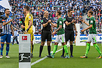 10.09.2017, Olympiastadion, Berlin, GER, 1.FBL, Hertha BSC vs SV Werder Bremen<br /> <br /> im Bild<br /> Bibiana Steinhaus (Schiedsrichterin / referee) klatscht mit Robert Bauer (Werder Bremen #4) ab, <br /> <br /> Foto &copy; nordphoto / Ewert