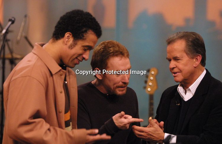 ©2003 KATHY HUTCHINS/ HUTCHINS PHOTO.THE OTHER HALF TAPING.BURBANK, CA.DECEMBER  20, 2002.DORIAN GREGORY, DANNY BONADUCE, AND DICK CLARK
