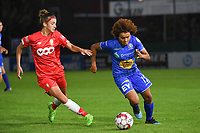 20190823 – OOSTAKKER, BELGIUM : Gent's Kassandra Missipo (R) and Standard's Justine Blave (L)  pictured during a women soccer game between AA Gent Ladies and Standard Femina de Liege on the first matchday of the Belgian Superleague season 2019-2020 , the Belgian women's football  top division , friday 23 th August 2019 at the PGB Stadium Oostakker in Gent  , Belgium  .  PHOTO SPORTPIX.BE | DIRK VUYLSTEKE
