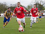 © Joel Goodman - 07973 332324 . 25/04/2015 . Salford , UK . Grant Spencer on the ball . Evostick League champions , Salford FC , play Osset Town , in Salford . Photo credit : Joel Goodman