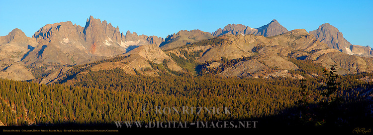 Minaret Sunrise, Minarets, Mount Ritter, Banner Peak, Ritter Range, Sierra Nevada Mountains, California