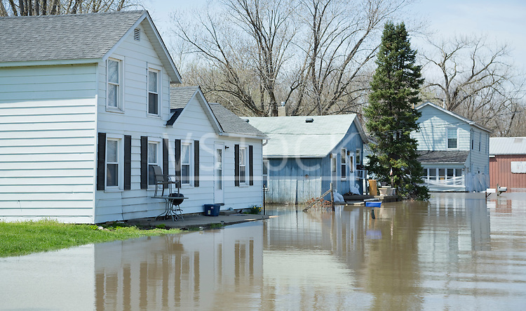 View of street in flooded town