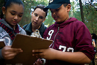 Jennifer Klein (center) helps Nelson Torres, 11, (right) and Dayla Olivo, 11, read a trail map as they and other sixth grade students from Roger Williams Middle School in Providence, Rhode Island, walk along a trail at the Powder Mill Ledges Wildlife Refuge in Smithfield, Rhode Island, on Oct. 20, 2011. The students are part of the EcoExplorer program run by the Providence After School Alliance, which helps to kids in learning environments outside of school time. The students make a weekly visit to the refuge, operated by the Rhode Island Audubon Society, to learn about nature and ecology.<br /> <br /> <br /> M. Scott Brauer for Education Week