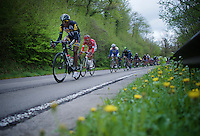 Daniel Teklehaimanot (ERI/MTN-Qhubeka) leads the peloton down towards the first climb of the day<br /> <br /> 101th Liège-Bastogne-Liège 2015