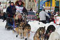 2010 Iditarod Ceremonial Start in Anchorage Alaska musher # 36 MICHELLE PHILLIPS with Iditarider LINDY FORTIER