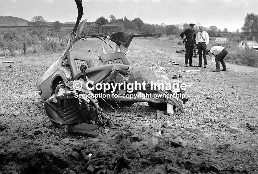 Scene of booby-trapped car explosion near Maghera, Co Londonderry, N Ireland, in which RUC constable, Noel Davies, died on 24h May 1975. The vehicle has been hijacked earlier in the day and abandoned on the Glenshane Pass where it was examined by Constable Davies and a colleague  who on finding nothing suspicous decided to drive it the short distance to Maghera Police Station. Unknown to the officers the INLA, Irish National Liberation Army, had left a device in the car.  As his colleague was driving away Constable Davies started the vehicle detonating a 15lb bomb which killed him instantly. 197505240455ND1.<br /> <br /> Copyright Image from Victor Patterson, 54 Dorchester Park, Belfast, UK, BT9 6RJ..Tel: +44 28 9066 1296.Mob: +44 7802 353836.Voicemail +44 20 8816 7153.Skype: victorpattersonbelfast.Email: victorpatterson@me.com.Email: victorpatterson@ireland.com (back-up)..IMPORTANT: If you wish to use this image or any other of my images please go to www.victorpatterson.com and click on the Terms &amp; Conditions. Then contact me by email or phone with the reference number(s) of the image(s) concerned.