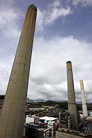 Tall chimney stacks at the 'Hong Kong Electric' (HEC) Lamma Power Station, Hong Kong, China. The main generating units at Lamma Power Station are basically designed for 100% coal firing..29 Jul 2010