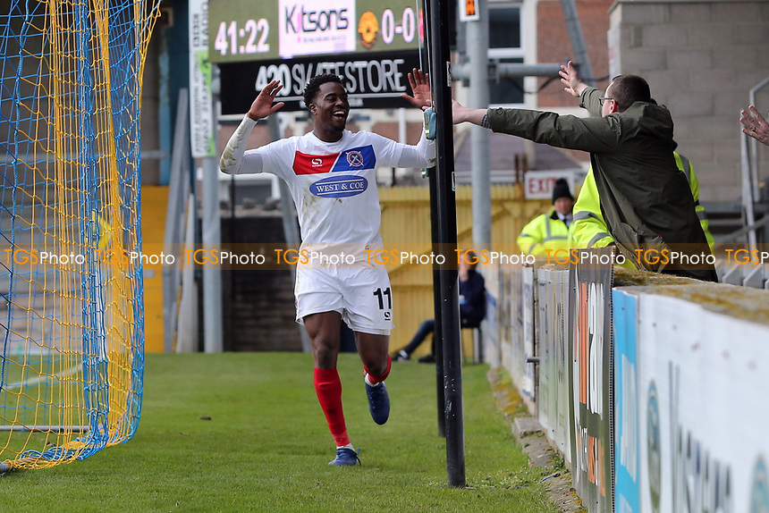 Fejiri Okenabirhie of Dagenham  sees this effort ruled out for offside during Torquay United vs Dagenham & Redbridge, Vanarama National League Football at Plainmoor on 17th February 2018