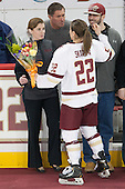 Allison Quandt (BC - Assistant Coach), Haley Skarupa (BC - 22), Dylan Skarupa - The Boston College Eagles defeated the visiting Providence College Friars 7-1 on Friday, February 19, 2016, at Kelley Rink in Conte Forum in Boston, Massachusetts.