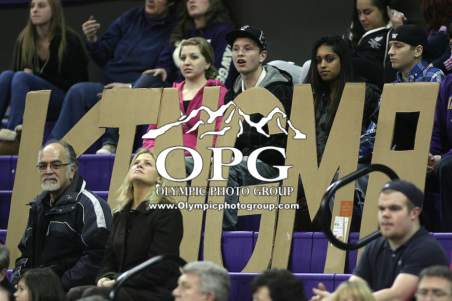 February 17, 2011:  Washington Huskies fans held up card board cut outs representing guard Kristi Kingma through out the game against Arizona State .  Arizona State defeated Washington 71-63 at the Hec Ed Arena in Seattle, WA.
