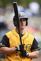 Jacksonville Suns  outfielder Joe Benson (5) on deck during a game against the Pensacola Blue Wahoos on April 20, 2014 at Bragan Field in Jacksonville, Florida.  Jacksonville defeated Pensacola 5-4.  (Mike Janes/Four Seam Images)