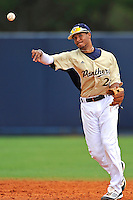 4 March 2012:  FIU shortstop Julius Gaines (2) throws to first base as the FIU Golden Panthers defeated the Brown University Bears, 8-3, at University Park Stadium in Miami, Florida.