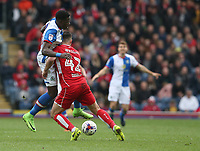Bristol City's Bailey Wright battles with Blackburn Rovers' Connor Mahoney<br /> <br /> Photographer Stephen White/CameraSport<br /> <br /> The EFL Sky Bet Championship - Blackburn Rovers v Bristol City - Monday 17th April 2017 - Ewood Park - Blackburn<br /> <br /> World Copyright &copy; 2017 CameraSport. All rights reserved. 43 Linden Ave. Countesthorpe. Leicester. England. LE8 5PG - Tel: +44 (0) 116 277 4147 - admin@camerasport.com - www.camerasport.com