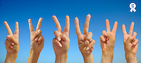 People making Peace sign with hands, on blue sky (Licence this image exclusively with Getty: http://www.gettyimages.com/detail/103301318 )