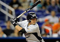 Florida International University infielder Jeremy Bajdaun (41) plays against the Miami Marlins, which won the game 5-1 on March 7, 2012 at Miami, Florida. .