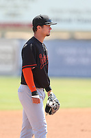 Jay Baum (22) of the Bakersfield Blaze in the field during a game against the High Desert Mavericks at Mavericks Stadium on May 18, 2015 in Adelanto, California. High Desert defeated Bakersfield, 7-6. (Larry Goren/Four Seam Images)