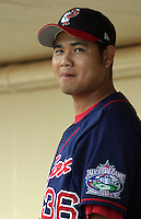 July 14, 2003:  Pitcher Bruce Chen of the Pawtucket Red Sox, Class-AAA affiliate of the Boston Red Sox, during a International League game at Frontier Field in Rochester, NY.  Photo by:  Mike Janes/Four Seam Images