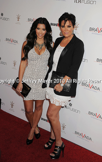 LOS ANGELES, CA. - April 07: Kim Kardashian and Kris Jenner arrive at The Bravada International launch party at The Whisper Lounge on April 7, 2010 in Los Angeles, California.