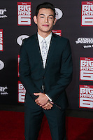 HOLLYWOOD, LOS ANGELES, CA, USA - NOVEMBER 04: Ryan Potter arrives at the Los Angeles Premiere Of Disney's 'Big Hero 6' held at the El Capitan Theatre on November 4, 2014 in Hollywood, Los Angeles, California, United States. (Photo by Xavier Collin/Celebrity Monitor)