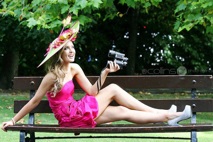 2/9/2010. Leopardstown Best dressed lady launch. Rozanna Purcell, Miss Universe Ireland is pictured in St Stephens Green Dublin for the launch of the Leopardstown best dressed prize details. Picture James Horan/Collins