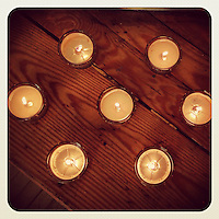 Candles burn at a yoga class at Summit Presbyterian Church in Mt. Airy on March 3, 2013.