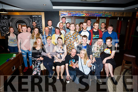 Mark O'Carroll, Ballyduff, celebrates his 30th birthday with friends at the Abbey Inn on Saturday