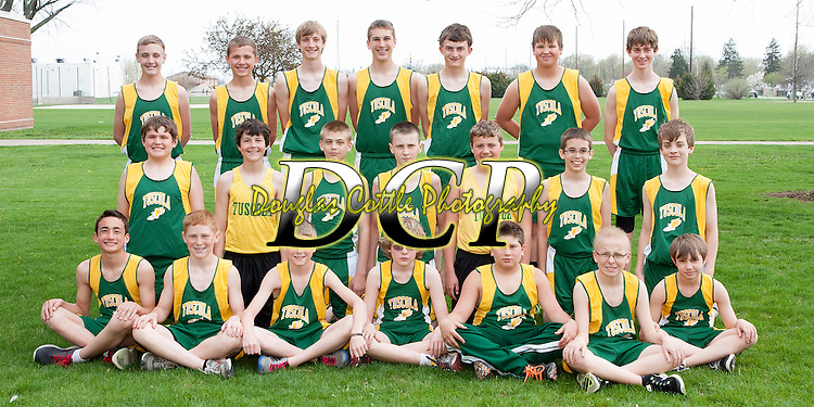 April 24, 2014- Tuscola, IL- The Hornet 7th Grade Boys Track team. Standing from left are Cade Morgan, Lucas Sluder, Cade Kresin, Noah Woods, Haden Cothron, Brayden VonLanken, and Turner Hastings. Kneeling from left are C.J. Picazo, Cameron Ochs, Josh Haste, Zachery DeVore, J.D. Barrett, Payton Hastings, and Blake Schultz. Sitting from left are Jordan Middleton, Will Little, Dalton Grover, Cedric Swearingen, Cole Robinson, Michael Ludwig, and Paul Nau. [Photo: Douglas Cottle]