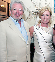22/6/10 Michael Colgan with John McColgan and Moya Doherty before he recieves his OBE from Ambassador Julian King at the British Amabassador's residence at Glencairn House in Sandyford, Dublin. Arthur Carron/Collins
