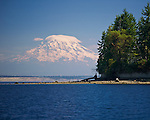 Carr Inlet, Puget Sound, WA<br /> View of Mount Rainier and  Penrose Point from Mayo Cove, Penrose Point Marine State Park