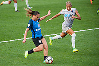 Kansas City, MO - Thursday August 10, 2017: Lo'eau Labonta, Jaelene Hinkle during a regular season National Women's Soccer League (NWSL) match between FC Kansas City and the North Carolina Courage at Children's Mercy Victory Field.