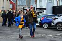 NEWPORT, WALES - FEBRUARY 16: Fans of Newport County prior to  kick off for the FA Cup Fifth Round match between Newport County and Manchester City at the Rodney Parade on February 16, 2019 in Newport, Wales. (Photo by Athena Pictures/Getty Images)