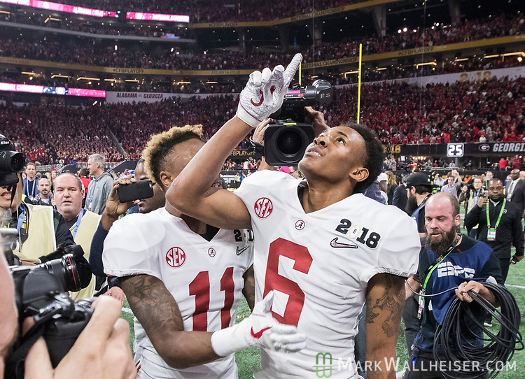 Alabama Crimson Tide wide receiver DeVonta Smith (6) celebrates catching the winning touchdown with Alabama Crimson Tide wide receiver Henry Ruggs III (11) against the Georgia Bulldogs in overtime of the NCAA College Football Playoff National Championship at Mercedes-Benz Stadium on January 8, 2018 in Atlanta. Photo by Mark Wallheiser/UPI