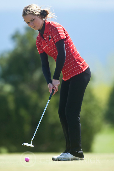 Photo by Chris Detrick | The Salt Lake Tribune .Alta's Nicole Jack putts on hole 2 during the 5A Girls Golf High School State Championship at Glenmoor Golf Course Wednesday May 11, 2011.