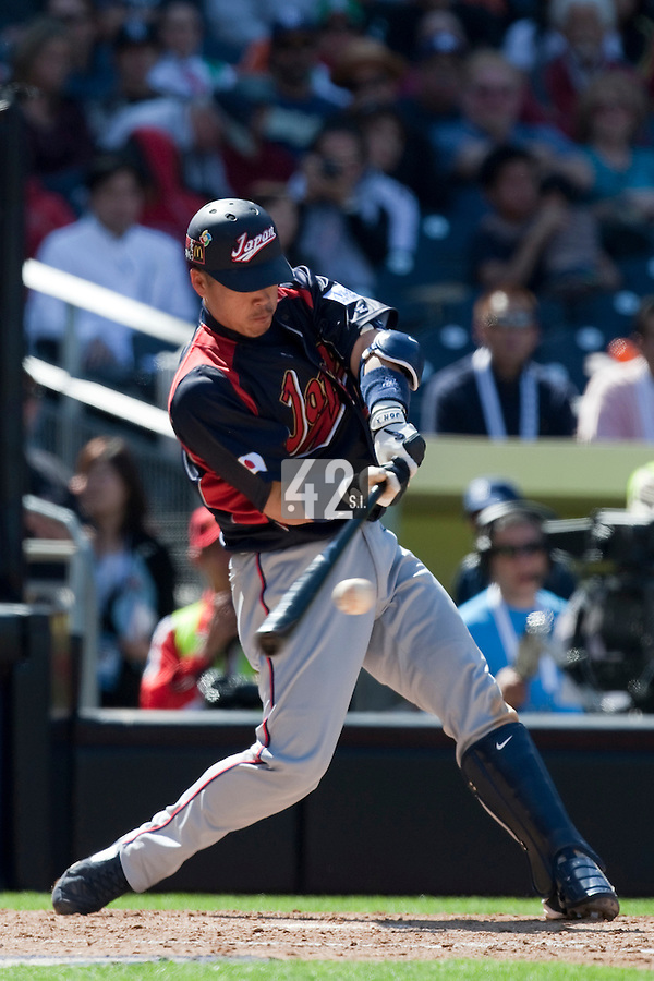 15 March 2009: #2 Kenji Johjima of Japan hits the ball during the 2009 World Baseball Classic Pool 1 game 1 at Petco Park in San Diego, California, USA. Japan wins 6-0 over Cuba.