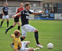 KVC Wingene - KSC Wielsbeke : Olivier Demaitre aan de bal voor de liggende Olivier Vanwijnsberghe (links)<br /> foto VDB / Bart Vandenbroucke