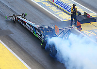 Aug 21, 2016; Brainerd, MN, USA; NHRA top fuel driver Clay Millican during the Lucas Oil Nationals at Brainerd International Raceway. Mandatory Credit: Mark J. Rebilas-USA TODAY Sports