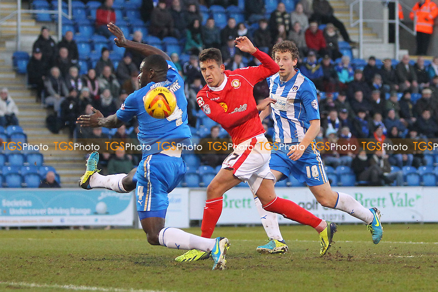 Jon Guthrie goes close to a goal for Crewe - Colchester United vs Crewe Alexandra - Sky Bet League One Football at the Weston Homes Community Stadium, Colchester, Essex - 29/12/13 - MANDATORY CREDIT: Gavin Ellis/TGSPHOTO - Self billing applies where appropriate - 0845 094 6026 - contact@tgsphoto.co.uk - NO UNPAID USE