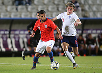 Ignacio Jara of Chile and England's Conor Gallagher challenge for the ball during Chile Under-21 vs England Under-20, Tournoi Maurice Revello Football at Stade Parsemain on 7th June 2019