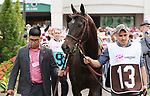 May 03, 2019 : Serengeti Empress in the paddock before the Kentucky Oaks.<br /> #13 Serengeti Empress and jockey Jose Ortiz win the 145th running of the Longines Kentucky Oaks Grade 1 $1,250,000 for owner Joel Politi and trainer Thomas Amoss at Churchill Downs on May 03, 2019.  Candice Chavez/ESW/CSM